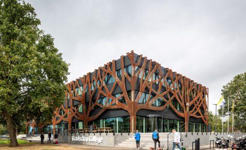 Graafschap College Doetinchem tree facade corten steel tree